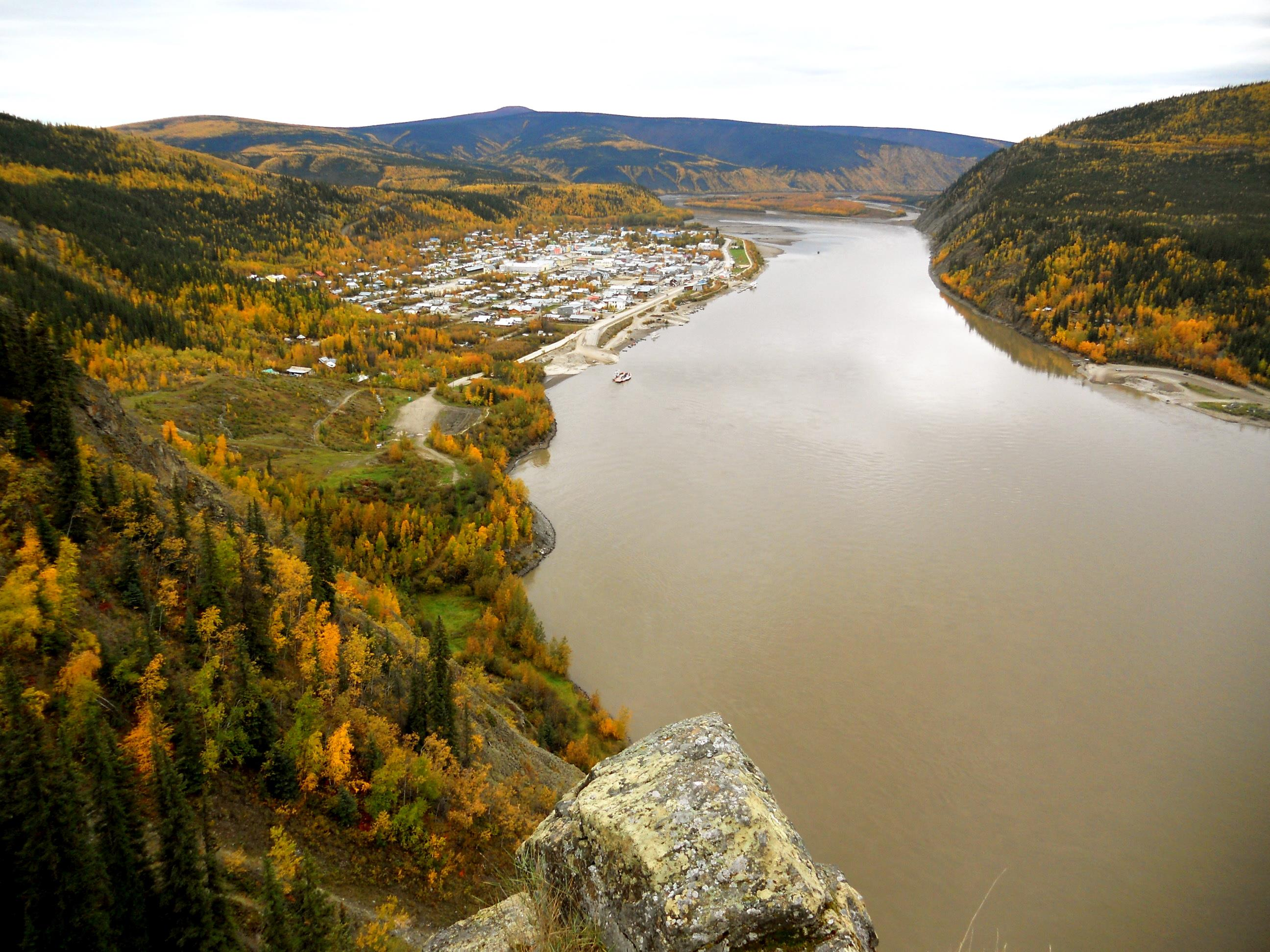 View of Dawson City from Moosehide Trail